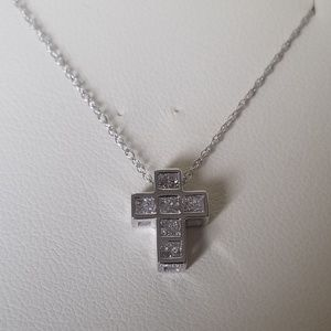 Jewelry - 1/2ct diamond 10k white gold cross necklace